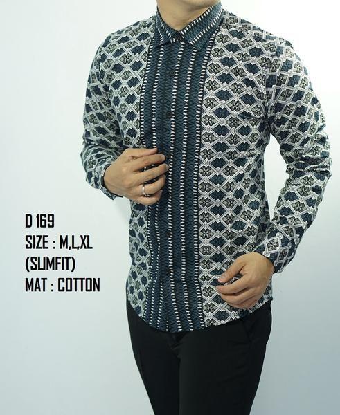 Baju Batik Pria Slim Fit Modern Lengan Panjang D169