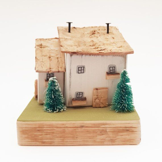Wooden Cottage Winter Scene Decor Christmas Holiday Decor Christmas