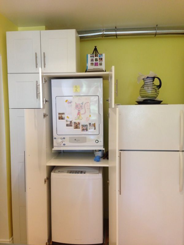 Final Result Hiding Stackable Top Load Washer Dryer In Akurum High Cabinet Ikea Hackers