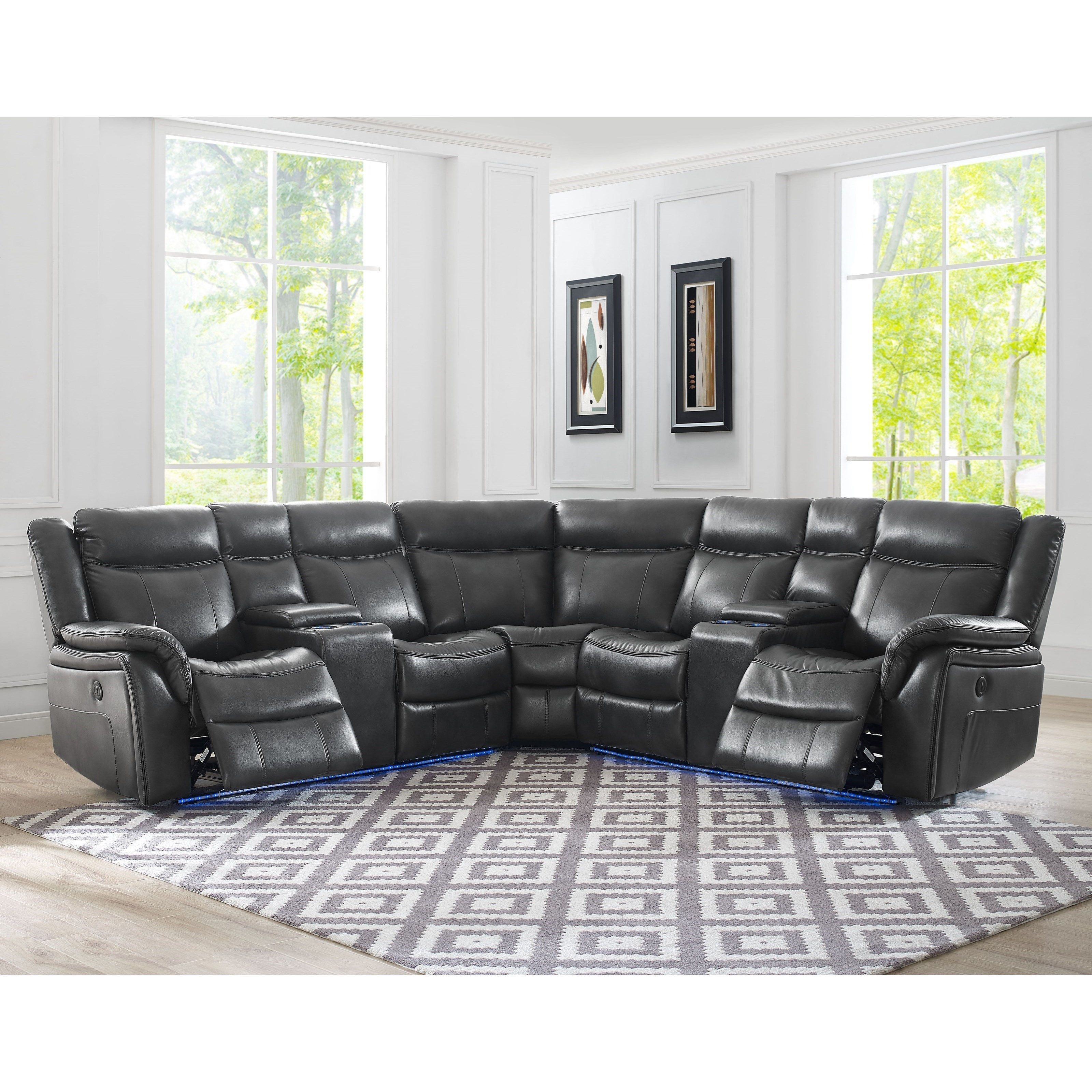 Remarkable Levin 4 Seat Power Reclining Sectional Sofa With Theater Machost Co Dining Chair Design Ideas Machostcouk