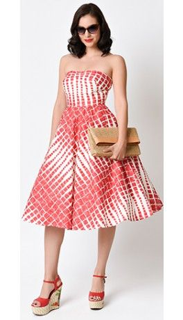 Preorder -  Unique Vintage 1950s Style Red & Cream Darcy Printed Swing Dress