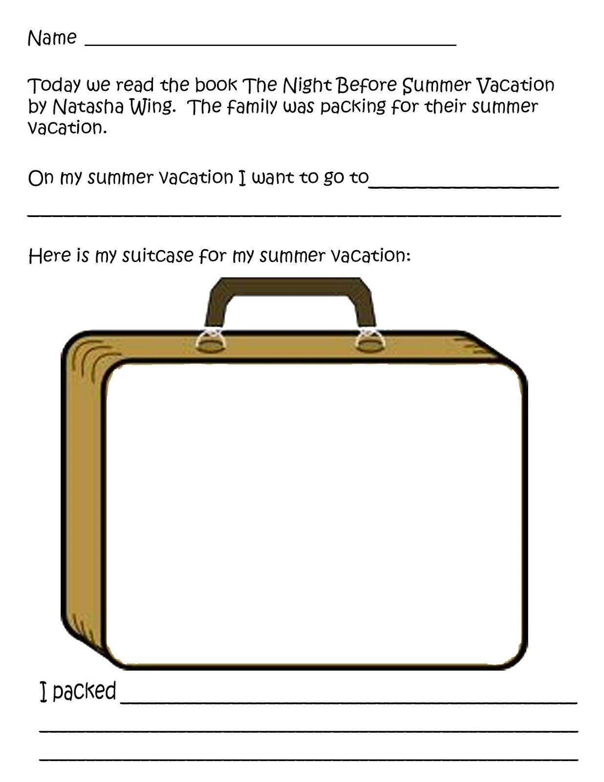 Night Before Summer Vacation Worksheet Summer Vacation Summer Vacation Activities The Night Before [ 1600 x 1236 Pixel ]