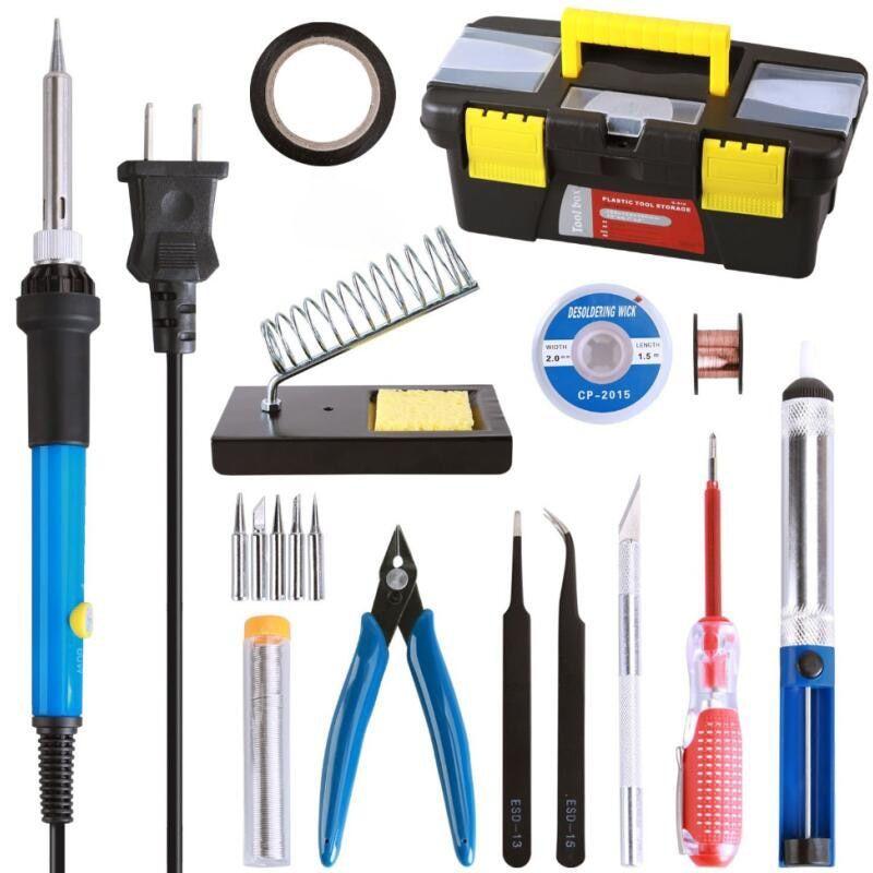 60W Soldering Iron Kit Electrical Welding Tool Gun Set Adjustable Temperature