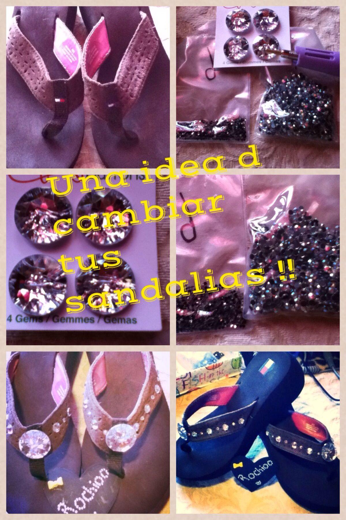 Una manera fácil y sencilla d cambiar el diseño d tus sandalias para este verano!!!!
