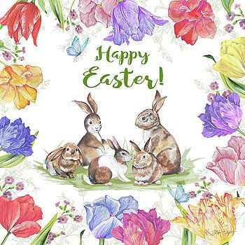 Bunnies In The Tulips-Happy Easter by Jean Plout