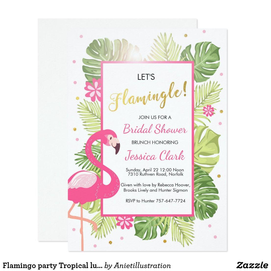 Flamingo party Tropical luau Bridal shower invite | Flamingo party ...