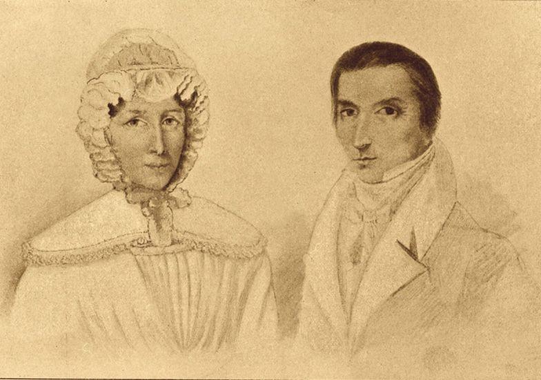 Rodzice Fryderyka Chopina, Justyna i Mikołaj. Ambroży Mieroszewski, rysunek (szkic do portretów olejnych [?])