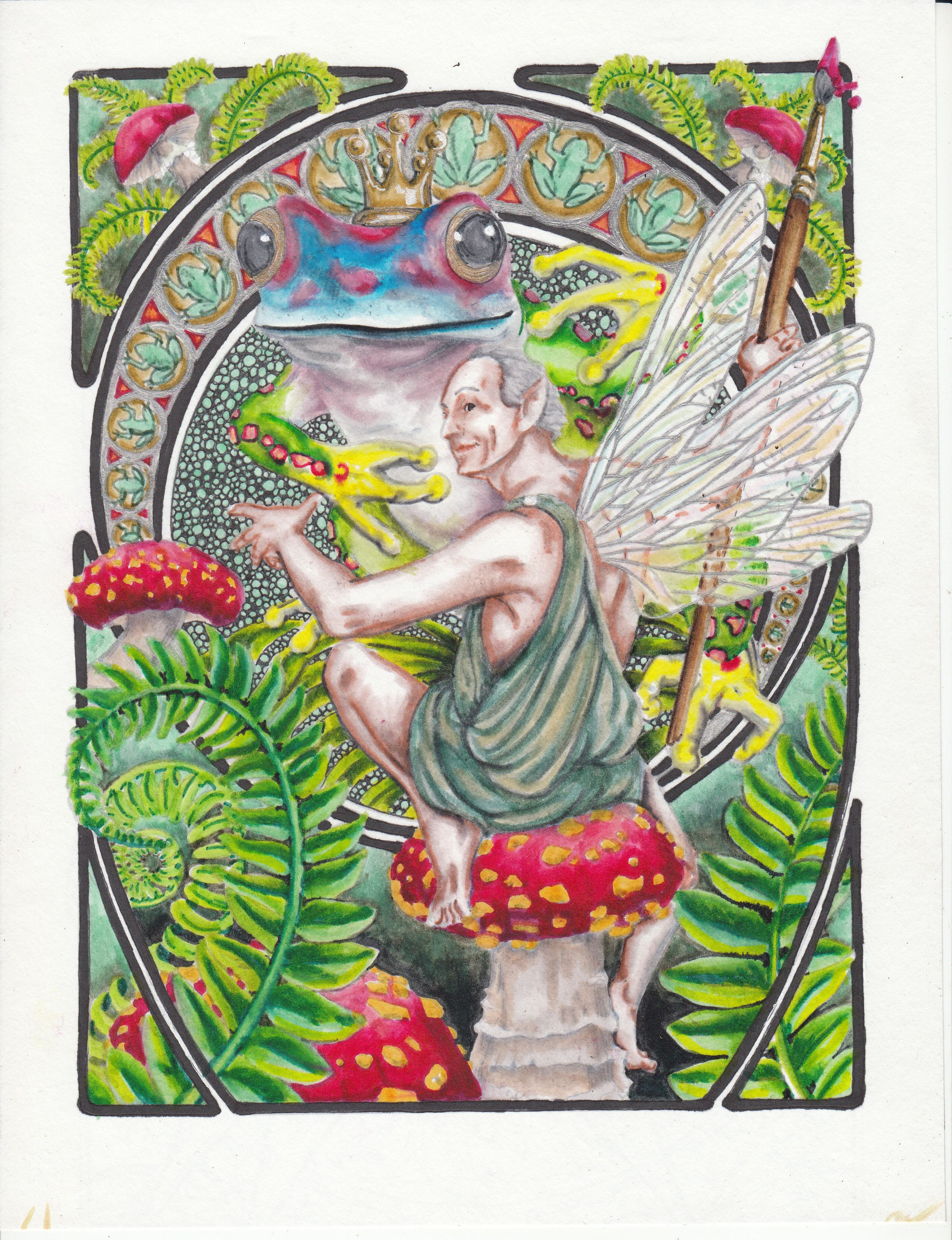 Art Nuveau fairies from the Dover coloring book | Coloring Books ...