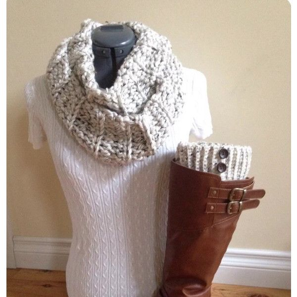 Boot Cuffs With Infinity Scarf Snowy Owl With Brown Buttons ($29) ❤ liked on Polyvore featuring accessories, boot socks & cuffs, grey, hosiery and women's clothing