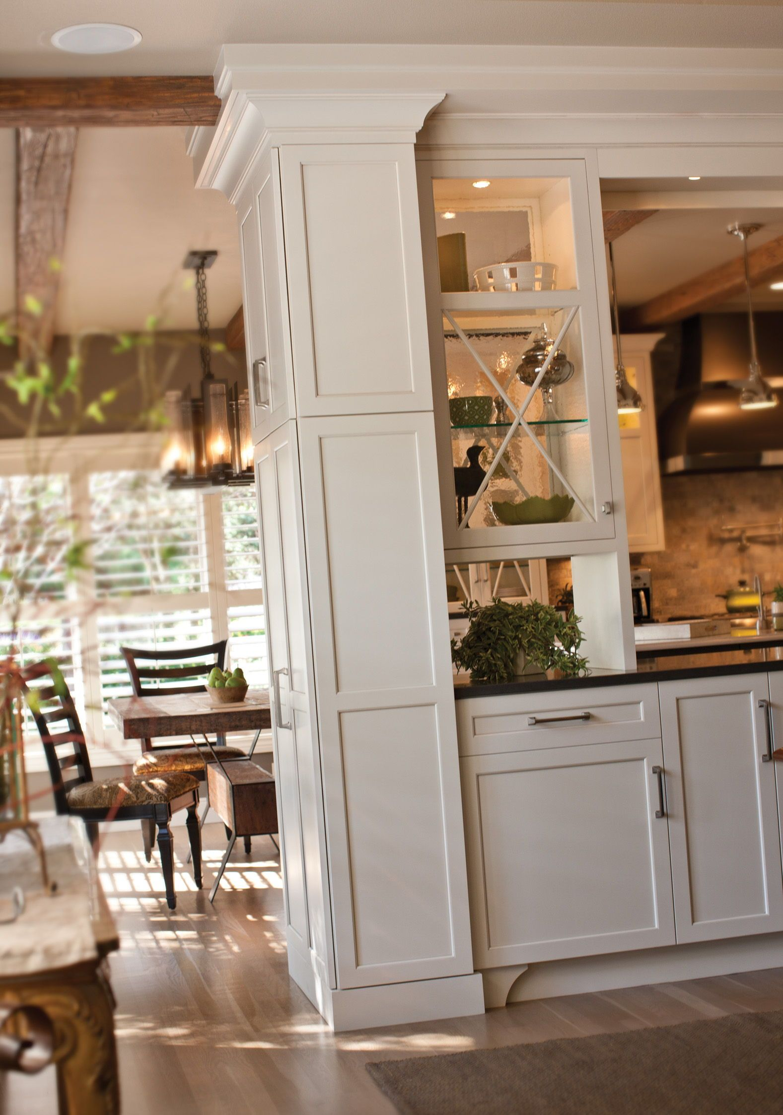 White Painted Cabinets As Wall Divider For Beautiful Storage In 2020 Cottage Dining Rooms Kitchen Design Decor Classic Kitchen Design