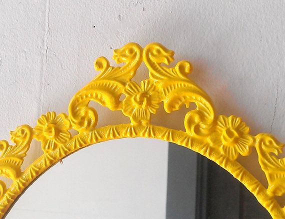 Yellow Oval Mirror in Vintage Ornate Frame  by SecretWindowMirrors