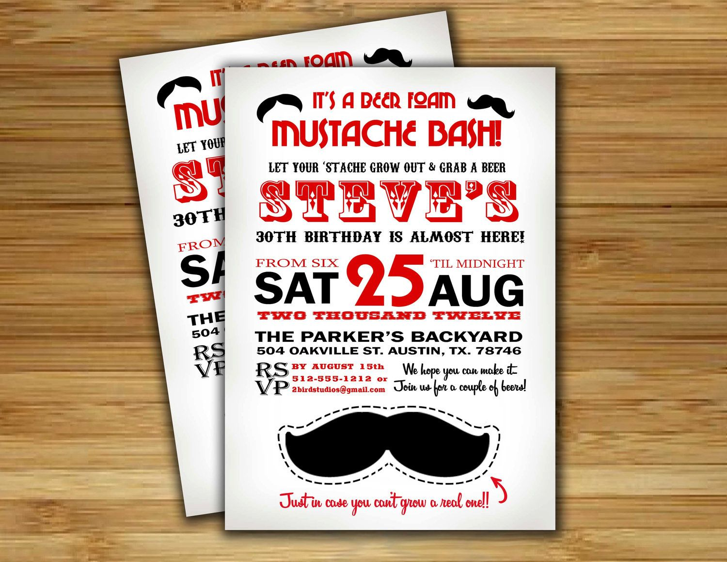 30th birthday invitation- Male Birthday Party Invitation / Mustache ...