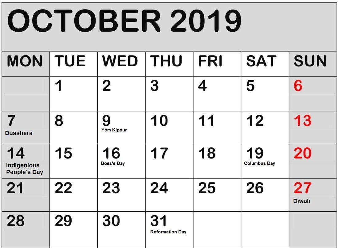 October 2019 Calendar With Holidays For USA, UK, Canada