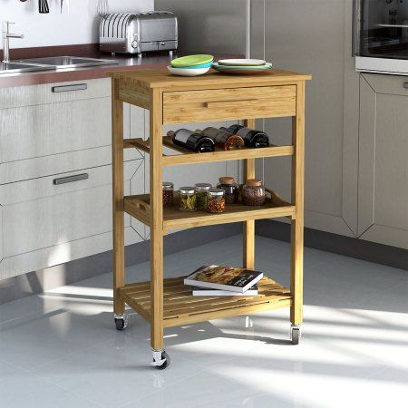 Rolling Bamboo Kitchen Cart Island Trolley Cabinet W Wine Rack Drawer Shelves Kitchencabinets