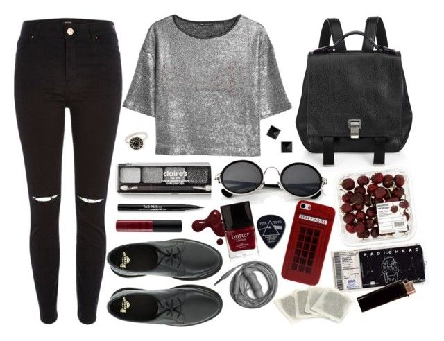 """#14"" by another-sonya ❤ liked on Polyvore featuring River Island, La Perla, MANGO, Proenza Schouler, Dr. Martens, Retrò, claire's, French Connection, Butter London and Forever 21"