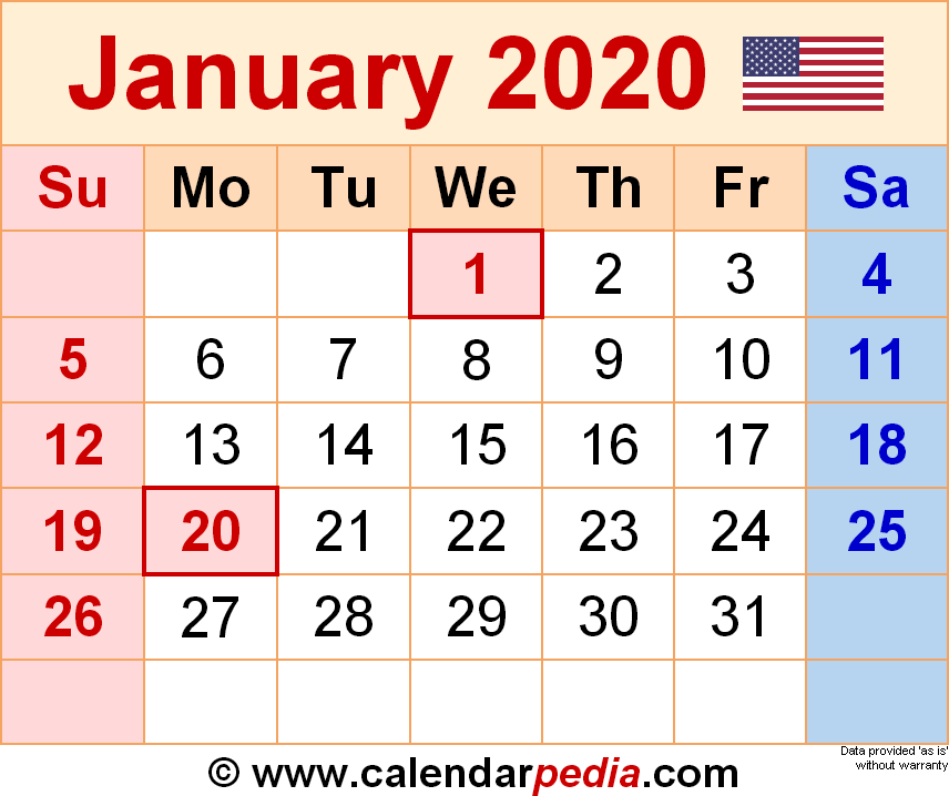 January 2020 Calendar PDF, Excel, Word Printable Templates