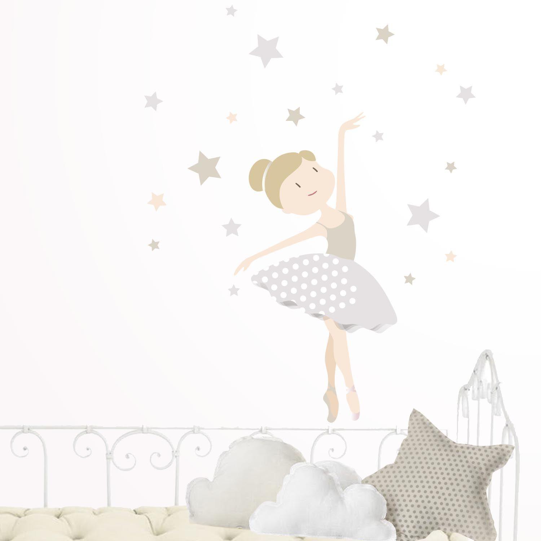 Vinilo infantil habitaci n infantil ni as bailarina gris - Vinilo habitacion nina ...