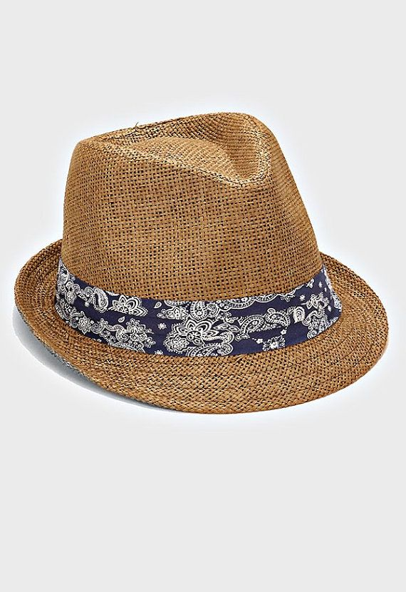 4f5ede66a Womens Coffee Brown Straw Fedora Hat Navy Blue Paisley Band Accent ...