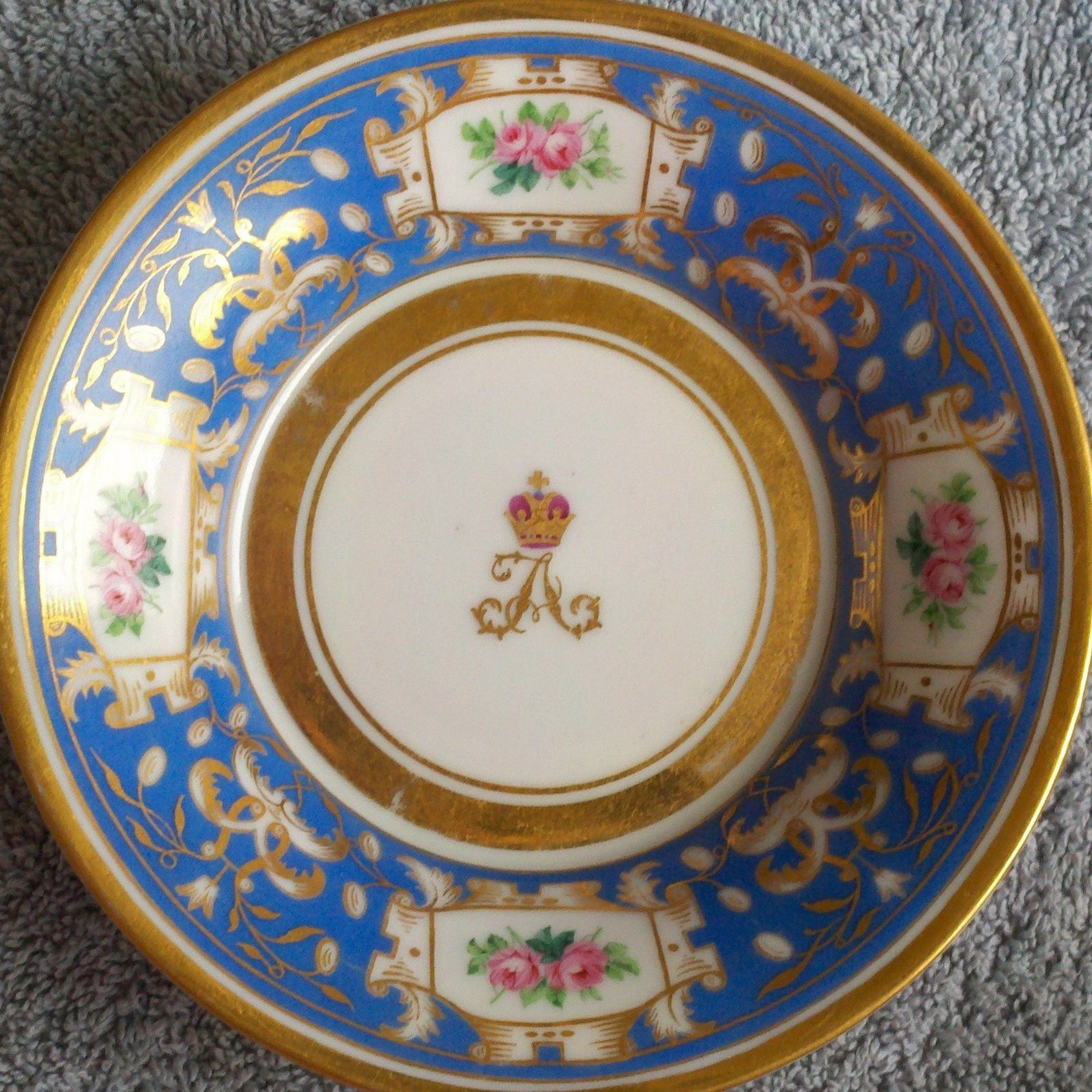 Russian Imperial Porcelain Factory The center of the plate decorated with the crowned Imperial cipher of & Russian Imperial Porcelain Factory The center of the plate decorated ...