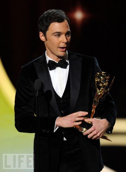 2011  LEAD ACTOR IN A COMEDY: Jim Parsons  The Big Bang Theory star received his Emmy from a humble and subdued Charlie Sheen. Parsons went on to thank a fellow nominee -- his costar Johnny Galecki.