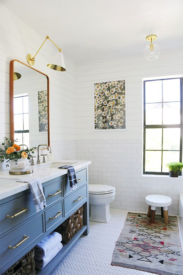 Small Bathroom Remodel Subway Tile white herringbone floor tile and subway tile with a modern edge