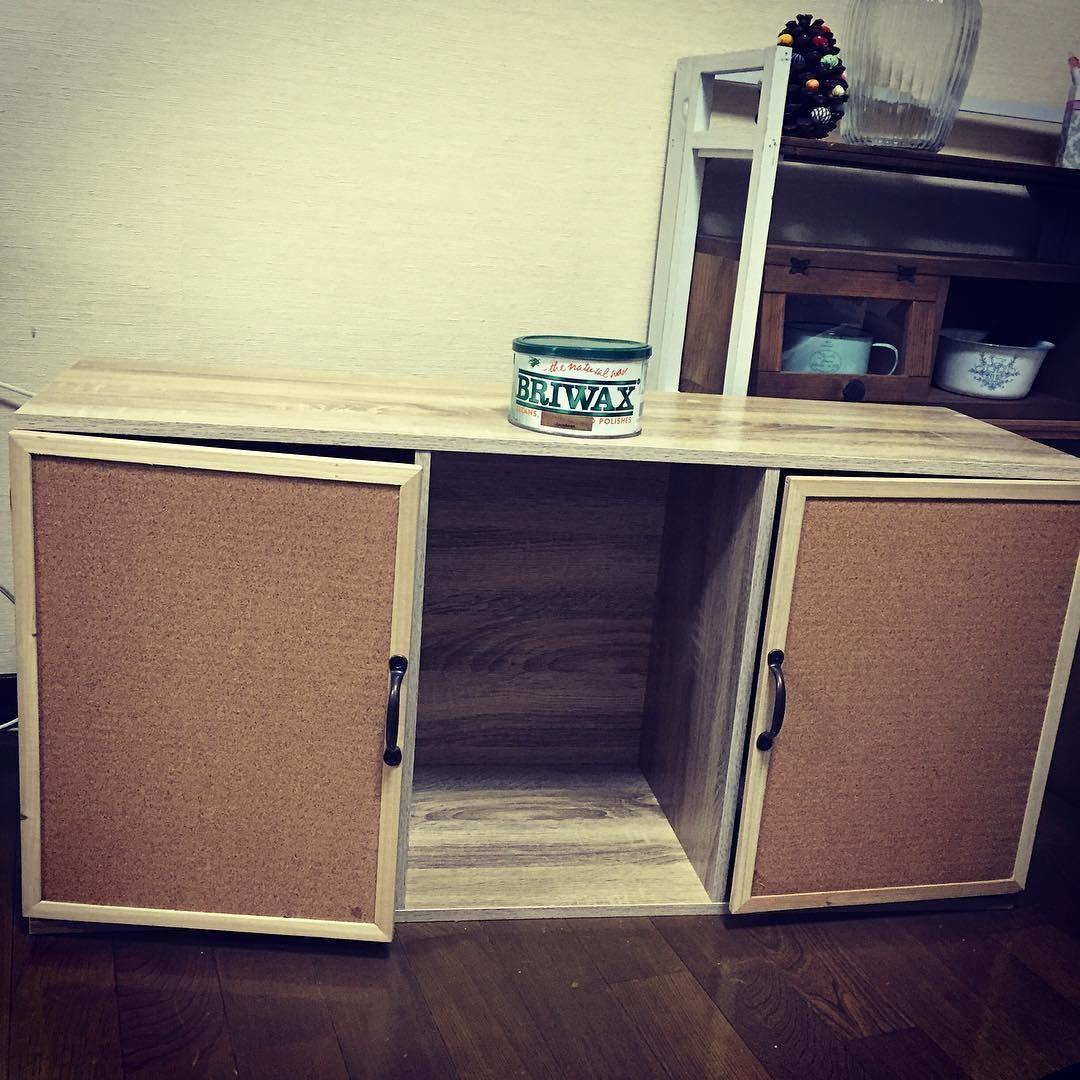 100均素材でカラーボックスに目隠し 簡単アイデアから棚の扉に磁石を