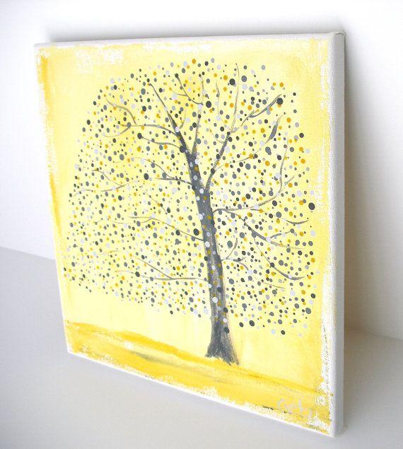 Yellow and Gray Tree Original Painting, Nursery Wall Art, Polka Dot ...