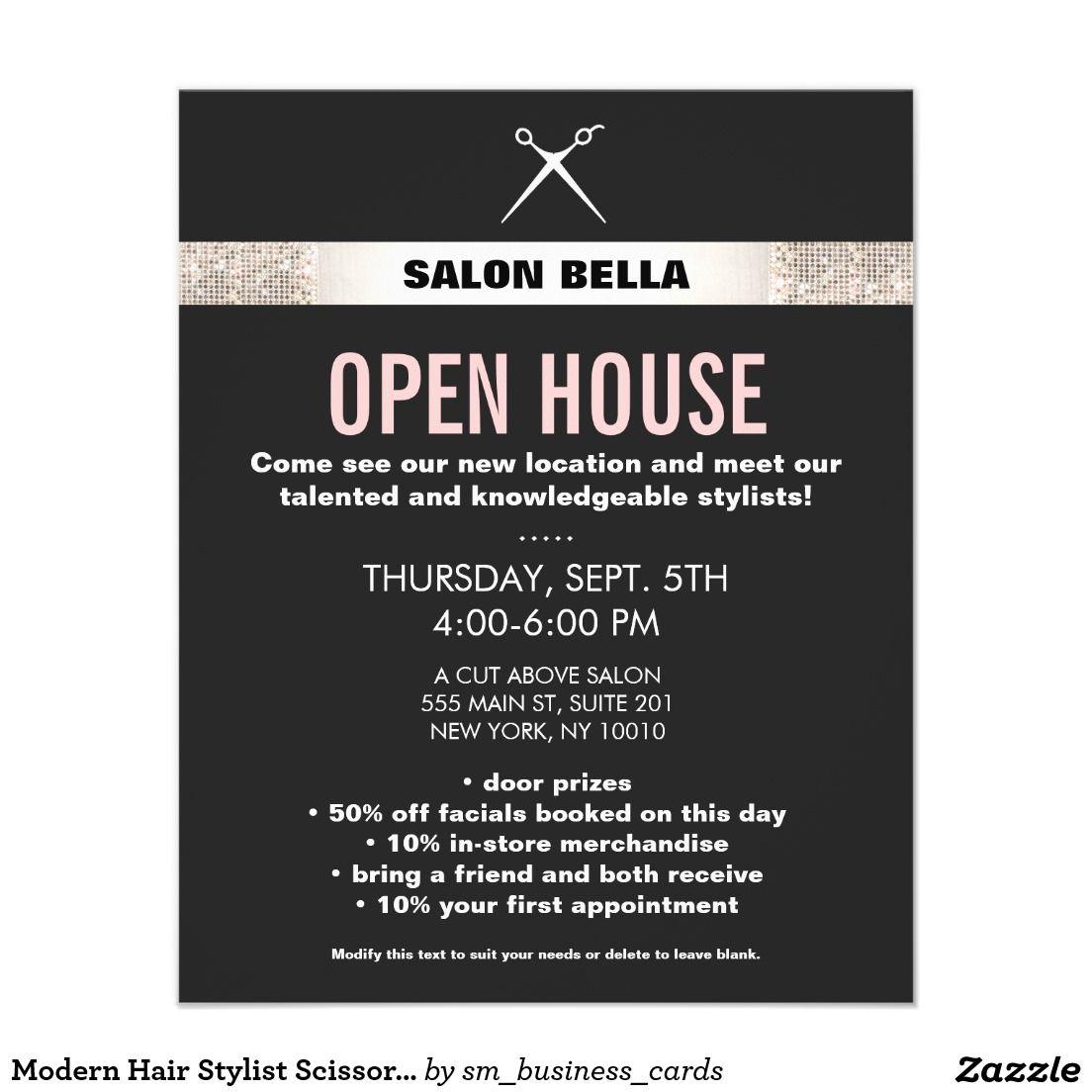 Modern Hair Stylist Scissors Silver Sequins Salon Flyer Zazzle