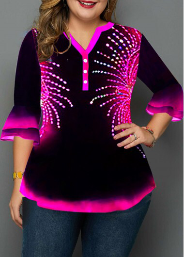 Plus Size Layered Flare Cuff Button Detail Printed Blouse | modlily.com - USD $3... 7