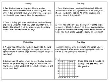 5th Grade Common Core Math Weekly Word Problems Set 3 4 Weeks Fifth Grade Math Word Problems Common Core Math