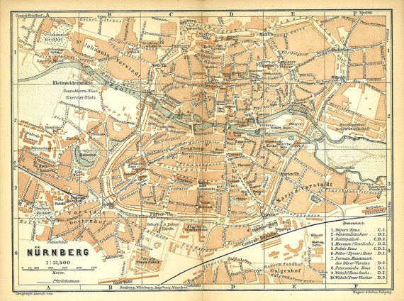 Map Of Germany Nuremberg.Nuremberg City Map Germany Baedeker Original Antique Town Plan