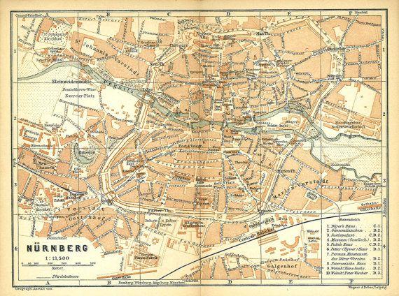 Nuremberg City Map Germany Baedeker Original by CarambasVintage