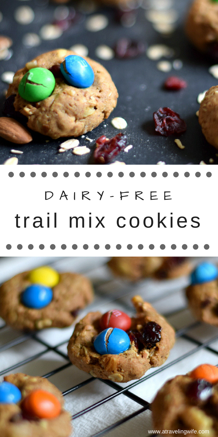 Trail mix cookies are filled with dried fruit and nuts making them a great snack to grab during the day. They also make for a great breakfast option for those mornings that you just don't have time to make anything. These trail mix cookies are dairy-free and do extremely well in the freezer so you will always have fresh cookies!