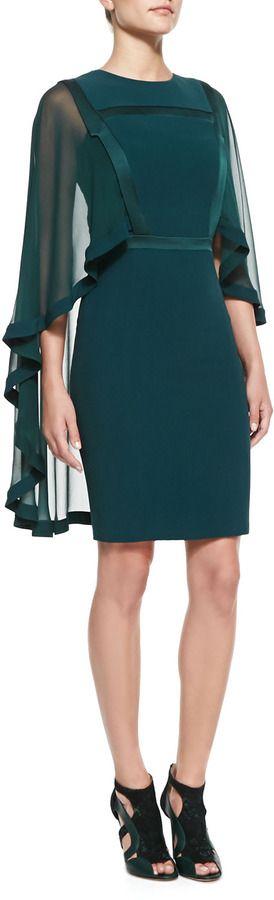 Elie Saab Sheath Dress with Sheer Cape on shopstyle.com