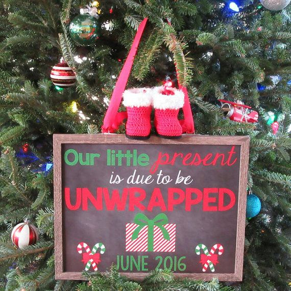 Christmas Pregnancy Announcement  by ChalkingItUpBoards on Etsy