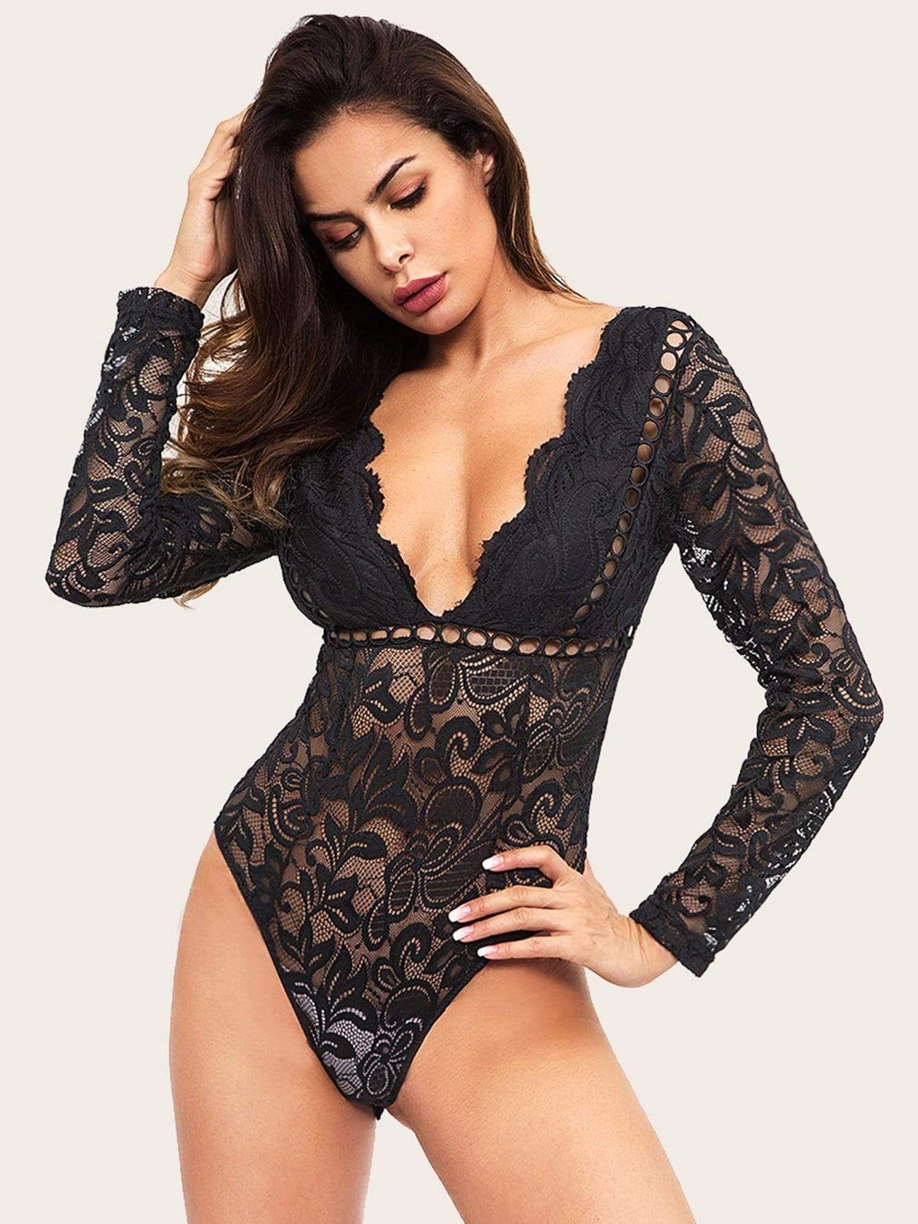 824b7227bc Lace Cut Out Deep V Neck Bodysuit - Popviva #bodysuits #rompersuit  #toreadorpants #suspenderbelt #bras #corset #tights #swimsuits #lycra  #spandex ...