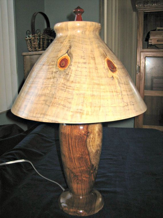 620 Unusual Lathe Turned And Hand Finished Wooden Lamp