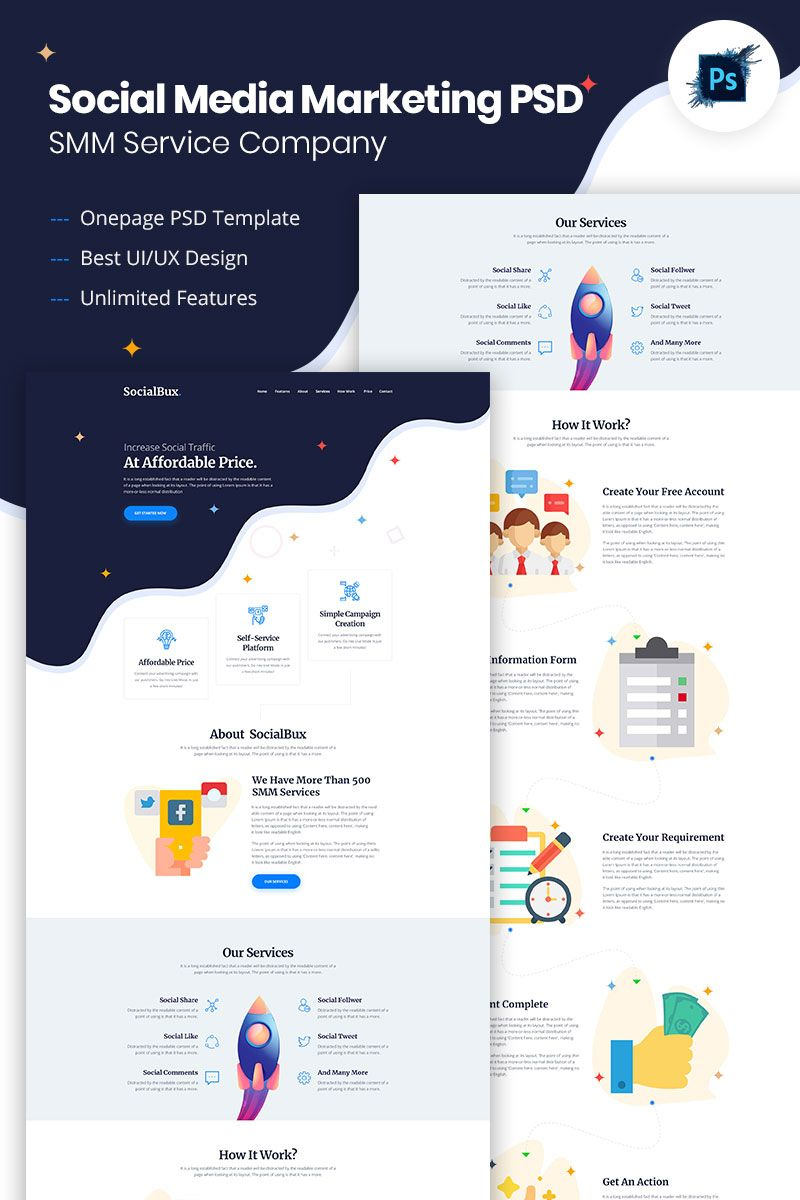 Socialbux Smm Service Provider Psd Template Service Smm Socialbux Psd Web Design Websites Web Design Business Website Design