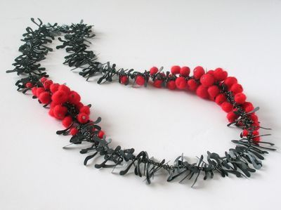 Blooming Boa Necklace - Anna Wales - felt and oxidized silver