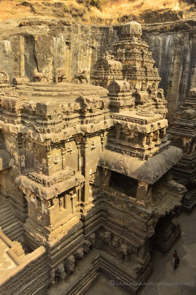 Photo of The Kailasa Temple, an 8th century Hindu temple in Ellora, India. The structure …