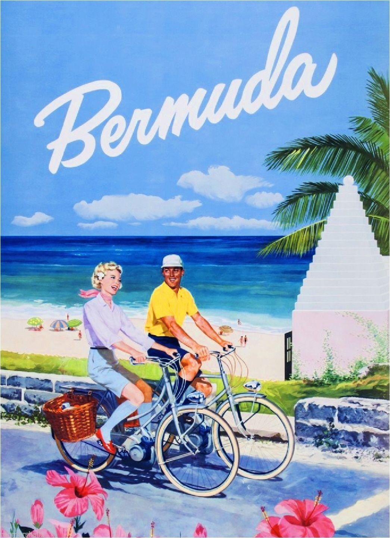 United States Caribbean Bermuda America Travel Advertisement Art ...