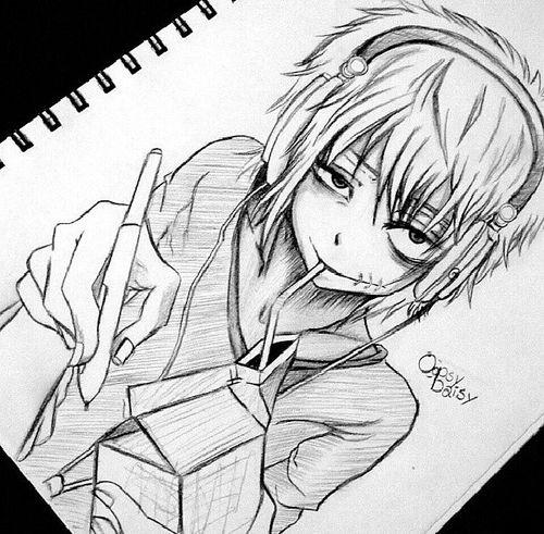 Creepy Anime Boy Drawing