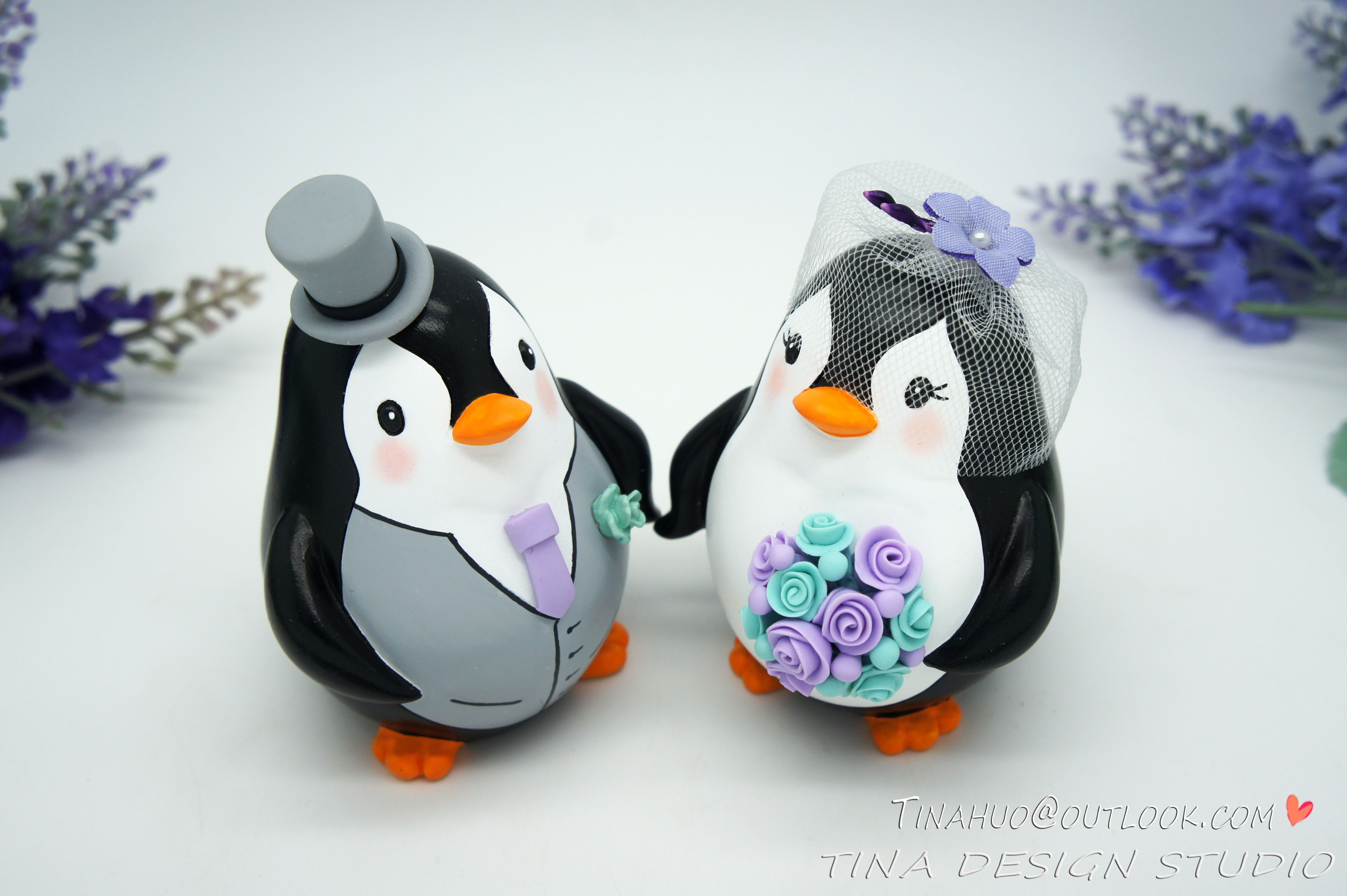 Personalised Funny Penguin Wedding Cake Toppers Purple Turquoise ...