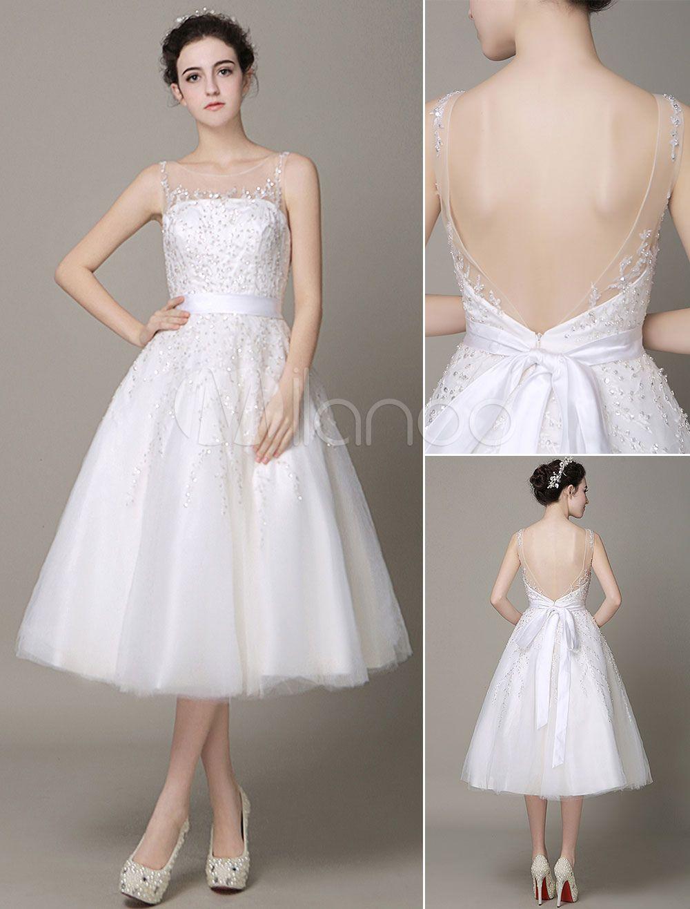 Fantastisches A-Linie-Brautkleid aus Tüll Illusion Ausschnitt mit ...