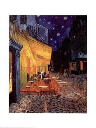 The Cafe Terrace on the Place du Forum, Arles, at Night, c.1888 Poster Print by Vincent Van Gogh The Cafe Terrace on the Place du Forum, Arles, at Night, c.1888 Poster Print by Vincent Van Gogh  paintings starry nights Scenic Art Impressionist Modern Street Post