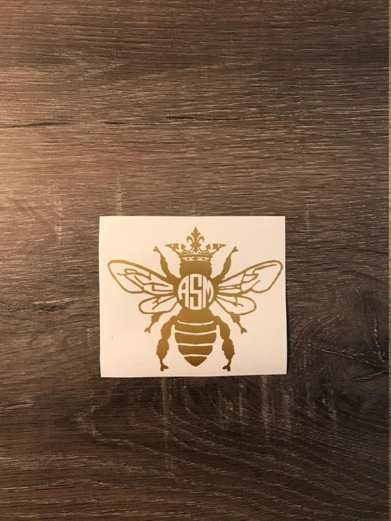 Queen bee monogram decal yeti decal car monogram decal