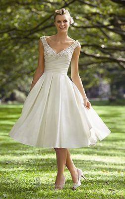 Uk 50s 60s Vintage Satin Short Wedding Dress Sleeveless Size 8 10 12