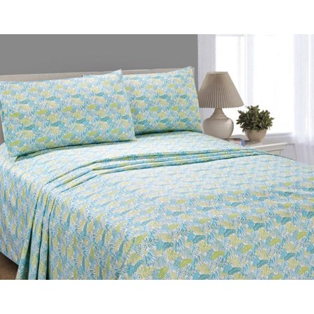 Mainstays Palm Style Microfiber Sheet Set Multicolor King Flat