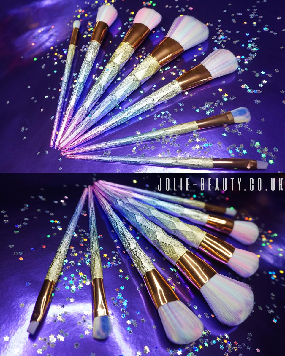 Rainbow & glitter makeup brushes. Cruelty free & vegan