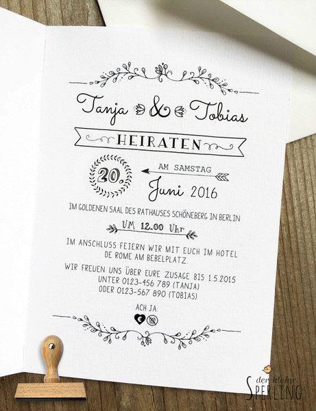 3d7a3669aa7f28 Einladungskarten - STEMPEL Hochzeitseinladung Vintage - ein Designerstück  von DerkleineSperling-Stempel bei DaWanda